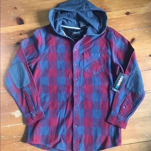 Men's thick flannel button down with hood